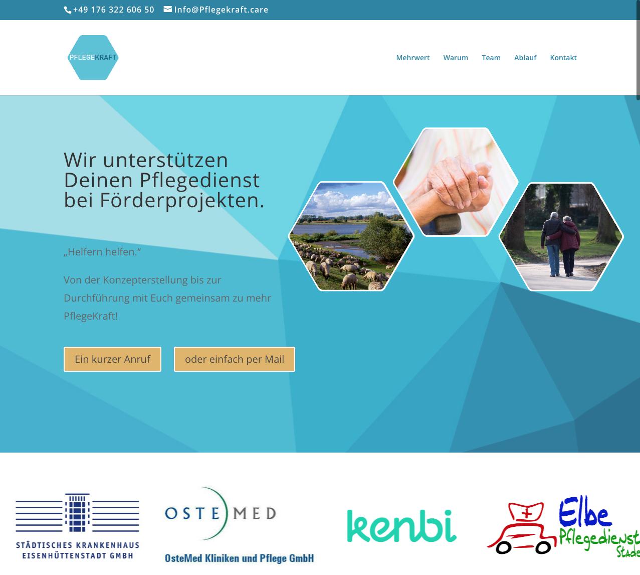 Screenshot von der Webseite Projekt Pflegekraft